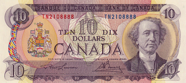 Canadian Banknotes 10 Dollar Note 1971 Sir John A. Macdonald, first Prime Minister of Canada