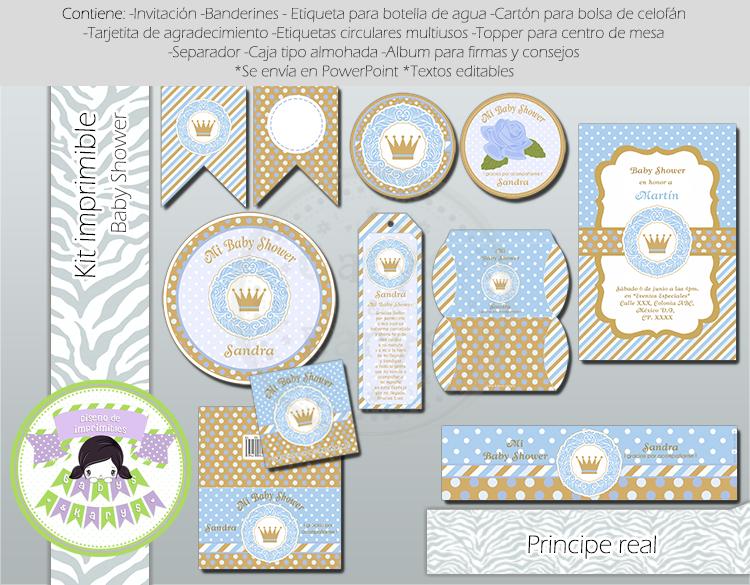 Kit Imprimible De Principe Para Baby Shower Gabys