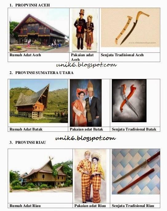 Pakaian Rumah Dan Senjata Tradisional 34 Provinisi Indonesia