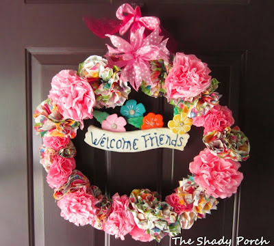 Colorful Spring Wreath - Paper Napkin Flowers