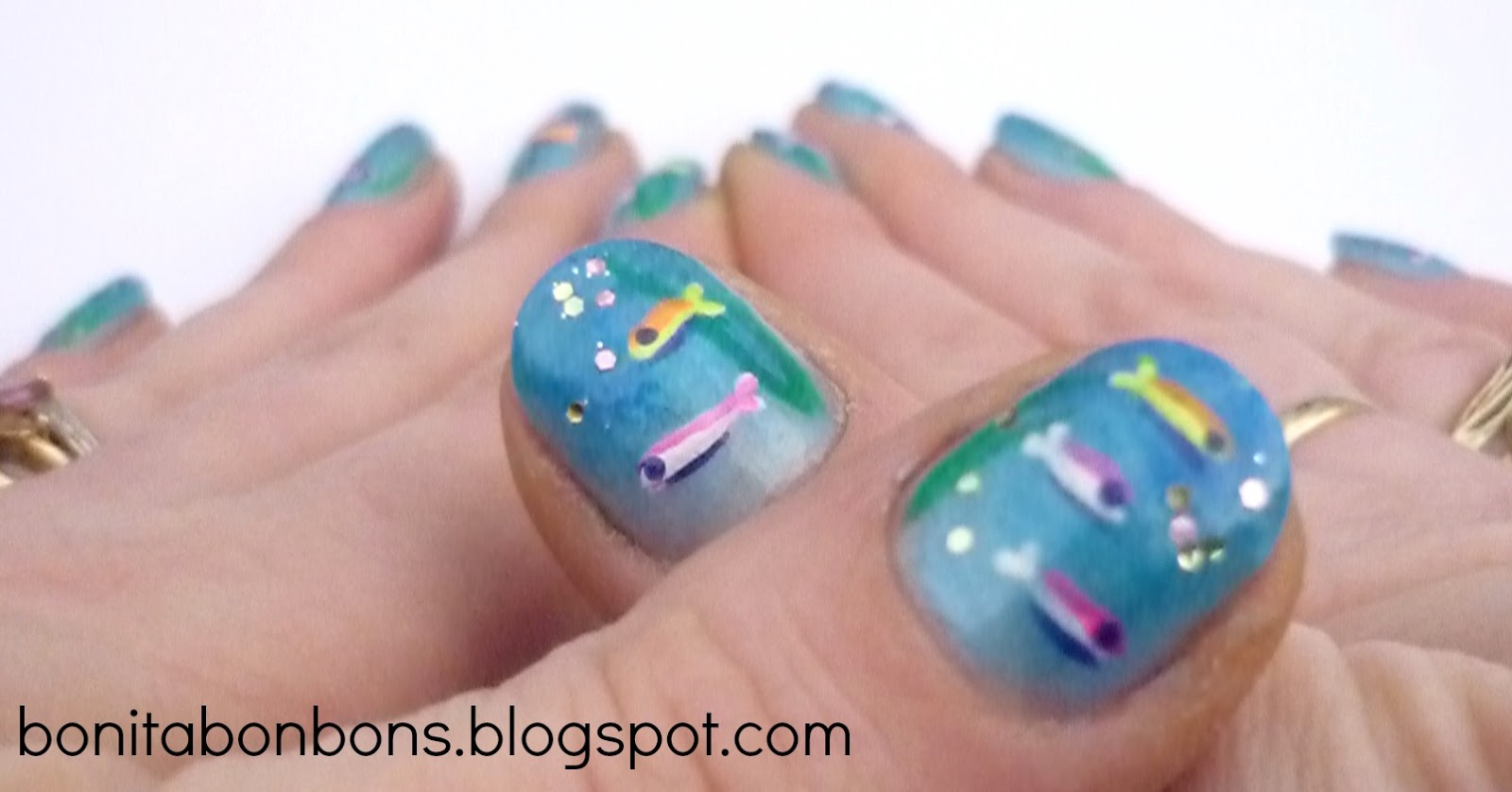 Little Mermaid Nail Art Happy neon fish nails