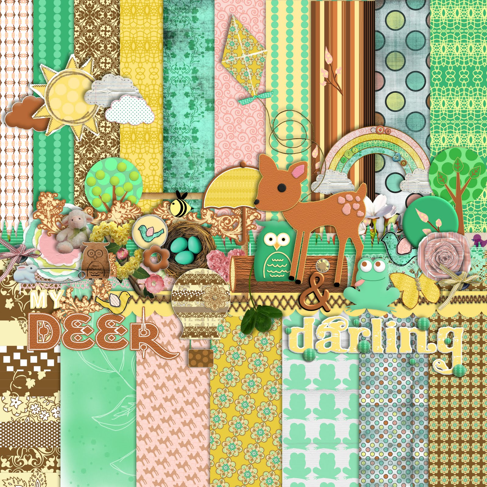 Free Spring Themed Digital Scrapbooking Mega Kit Re Release