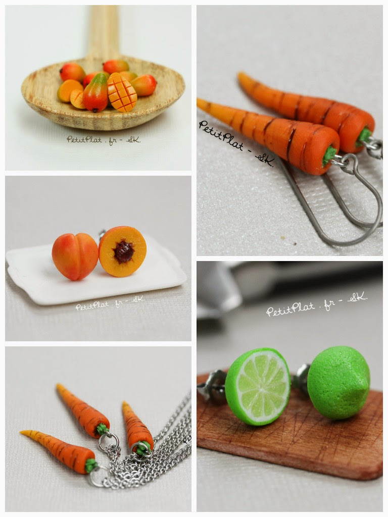 Miniature Food Jewelry, Veggies and Fruit, Stephanie Kilgast, PetitPlat