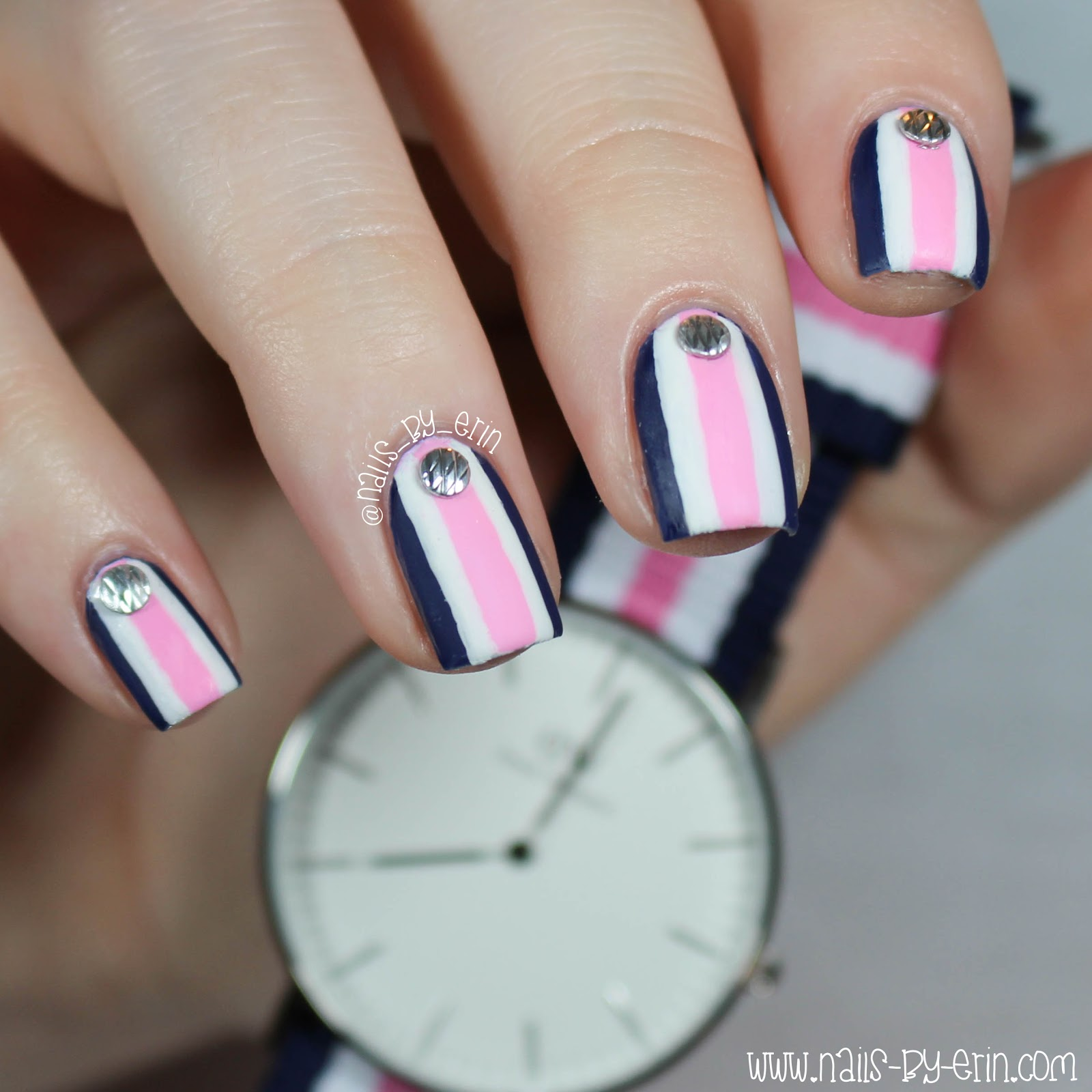 NailsByErin: Navy and Pink Striped Nails | Daniel Wellington Watch ...
