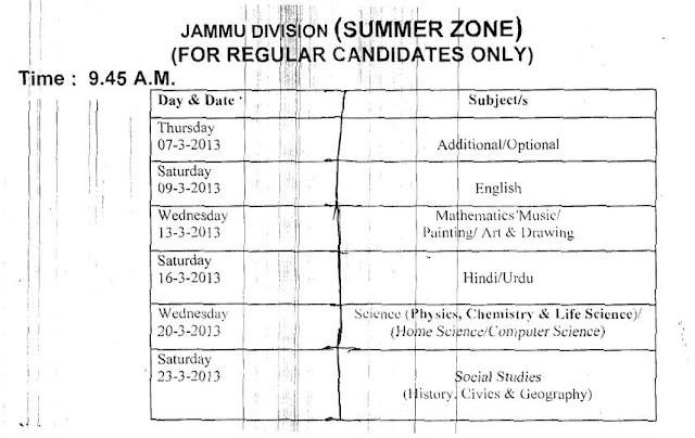 JKBOSE SSC 10th Datesheet 2013