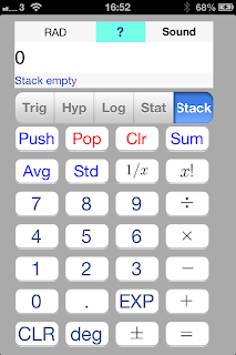 iOS App SciStatCalc screenshot Stack function - push, pop and clear a stack of numbers. reciprocal function, factorial function
