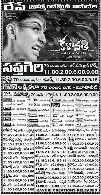 Tollywood Telugu movie  Kalavathi Theaters list