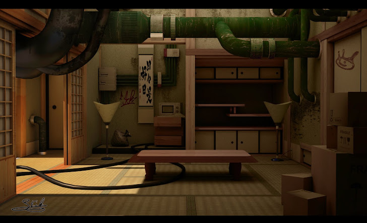 Rendu intérieur d'une chambre japonaise avec une touche de steamPunk