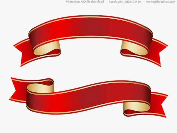 Curled Red Ribbon Template PSD