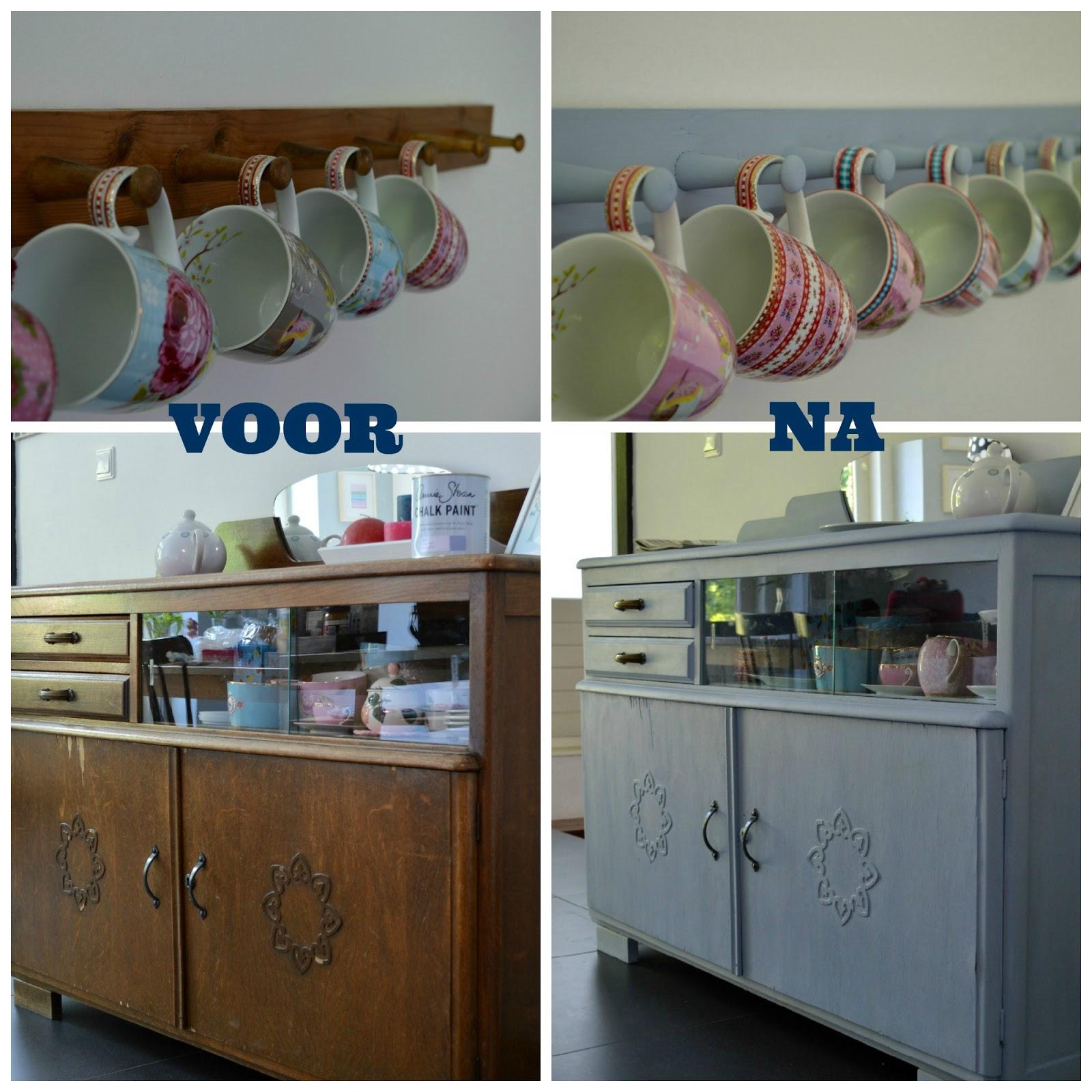 Keuken Schilderen Met Krijtverf : Eiken Keuken Verven Voor En Na : Krijtverf voorbeelden kasten met foto