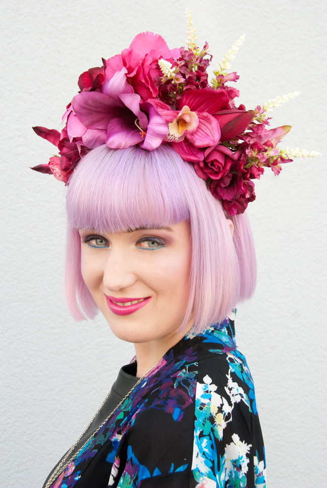 Pearls & Swine, flower crown, huge flower headdress