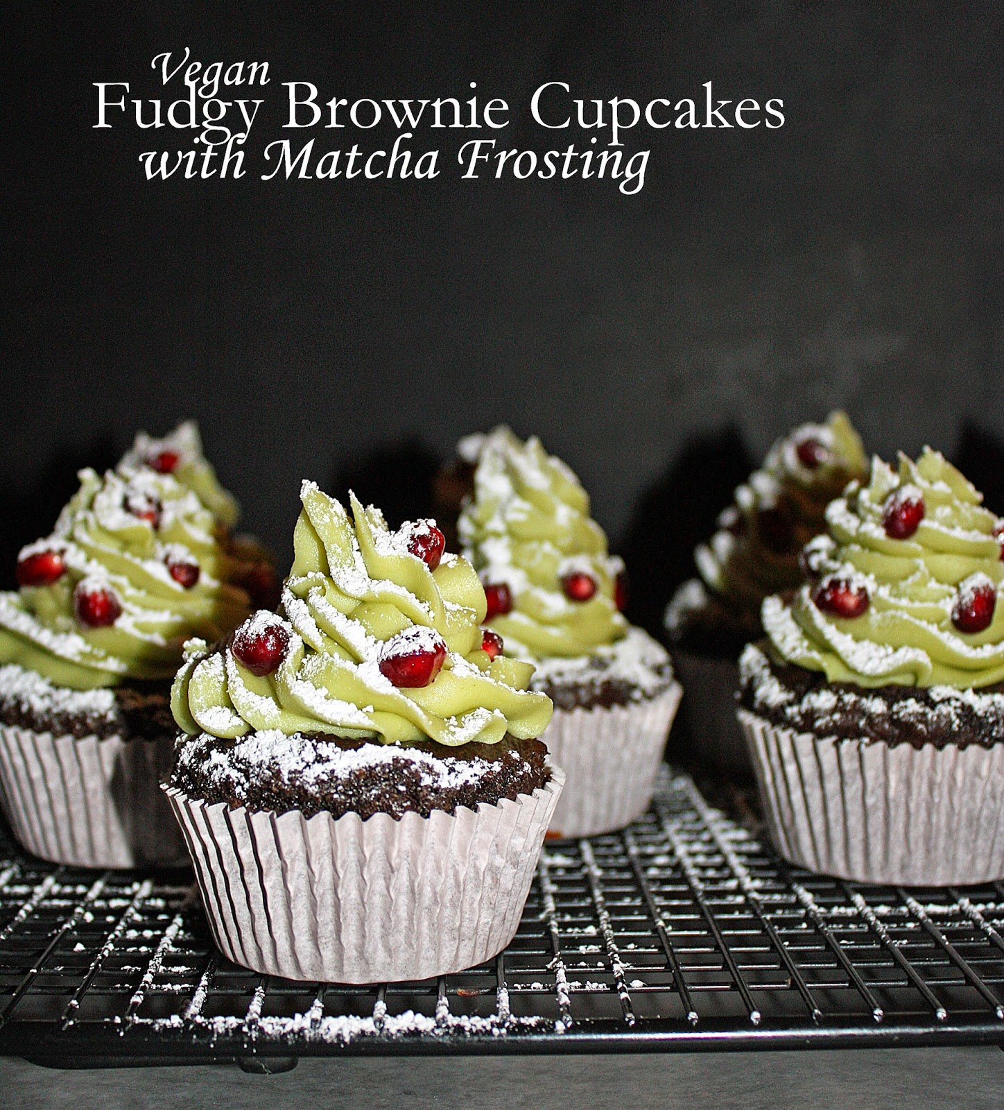 vegan fudgy brownie cupcakes with matcha frosting