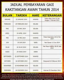jadual pembayaran gaji kakitangan awam kerajaan malayisa 2014
