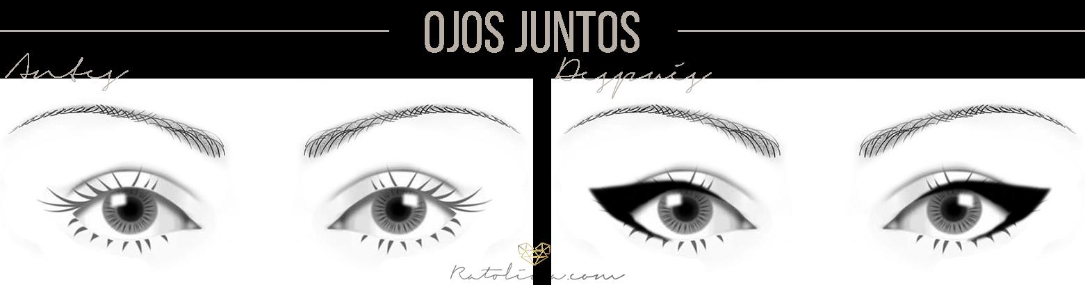 cómo maquillar ojos juntos