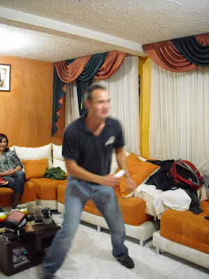 'Wrong Way' learning to dance with the help of a Playstation. You just can't teach an old dog new tricks!
