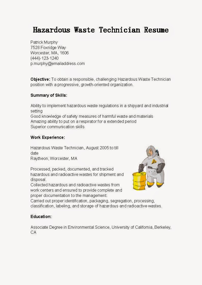 Resume Samples Hazardous Waste Technician Resume Sample