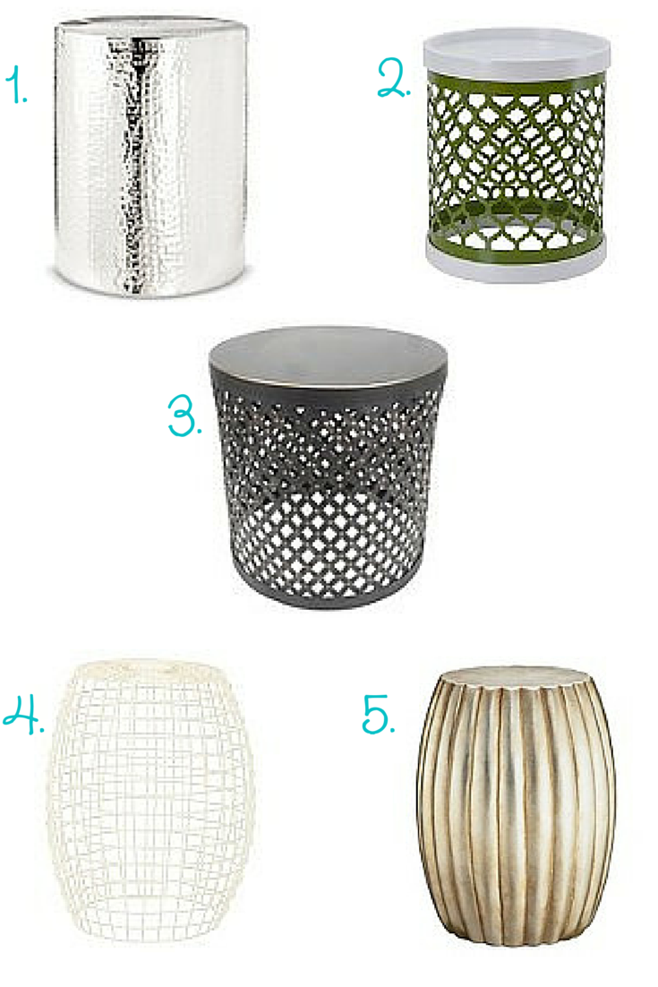 Threshold Accent Table Round Metal Cutout, 4. Safavieh Archer Stool, 5.  Scallop Silver Leaf Drum Table