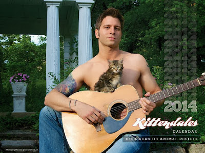 Hunky guys pose with kittens in fund raising calendar for animal shelter