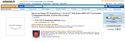 Galaxy S III recebe uma página de pré-encomenda na Amazon Alemanha