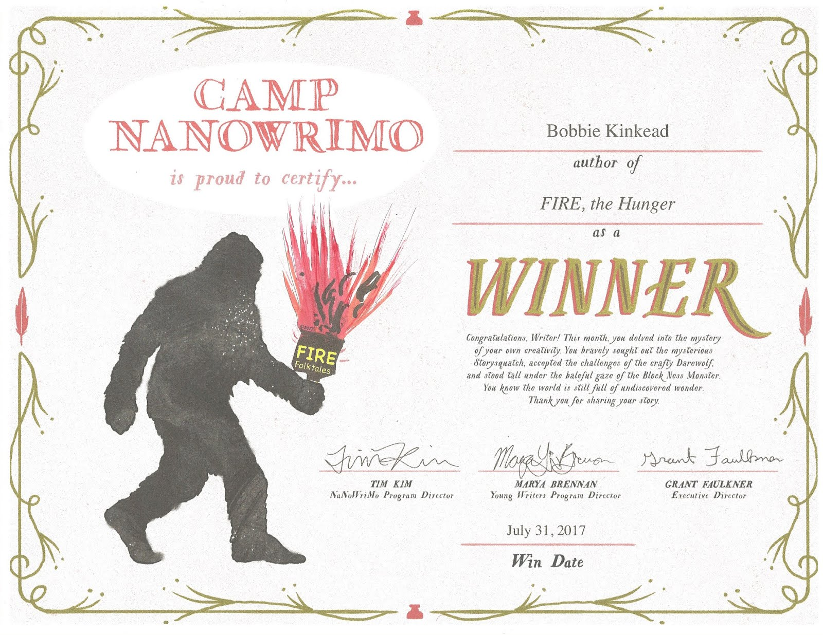 Winner NaNoWri CAMP 2017