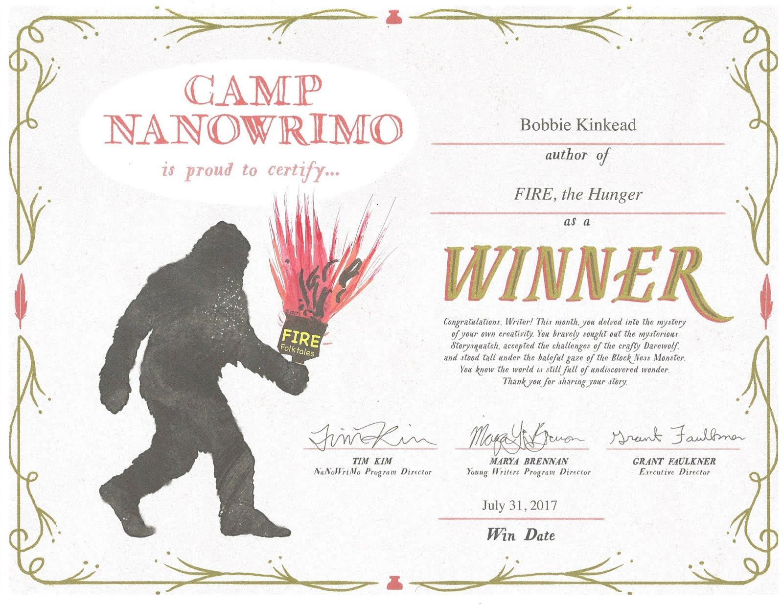 Winner NaNoWri CAMP 2017