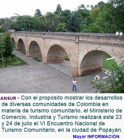 COLOMBIA: Popayán será sede de Encuentro Nacional de Turismo Comunitario