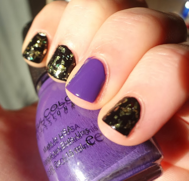 Sinful Colors Amethyst, black nails with gold flakes, halloween nails, witch colors