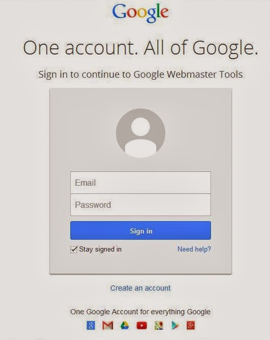 Login dulu untuk masuk di google webmasters tools