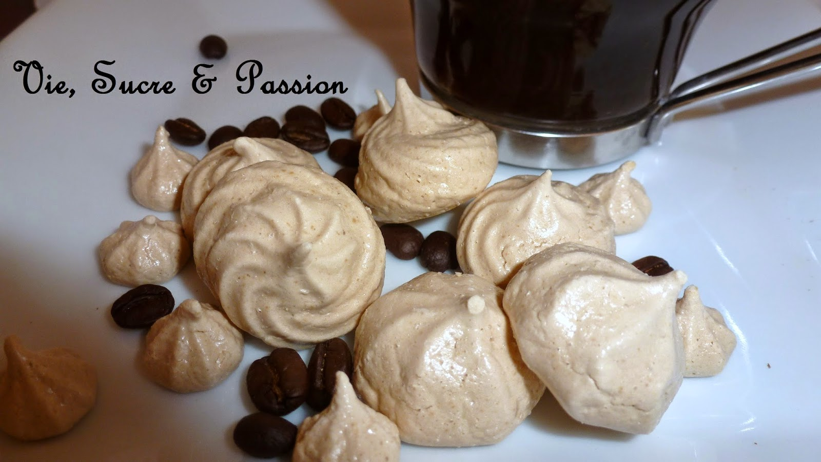 Homemade coffee meringue cookies