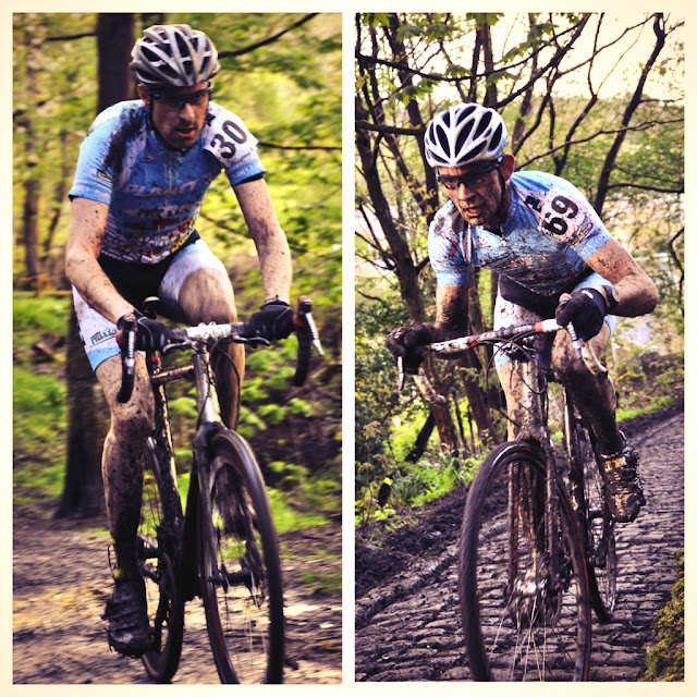 Two pictures of Alan Dorrington riding his Pickenflick in a muddy Cyclocross race