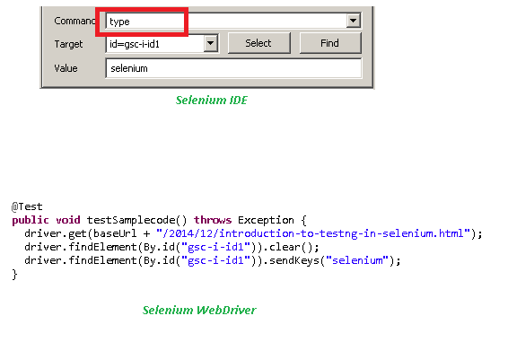 Selenese command in IDE and Webdriver