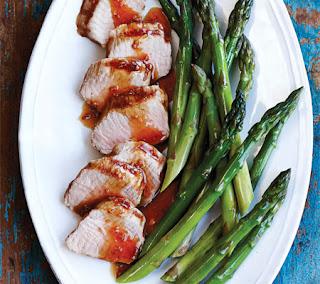 Marinated Pork Tenderloin with Steamed Asparagus Recipe