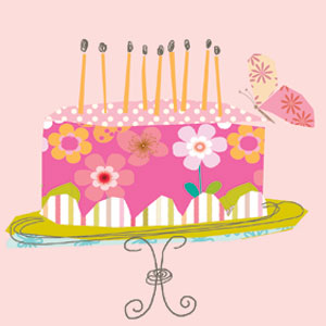 pink birthday cake candles cake stand butterfly greeting cards stationery designers Liz and Pip Ltd