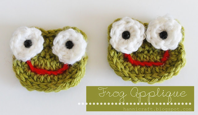 Crochet Frog Applique free pattern
