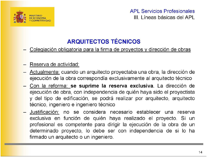A pie de obra anteproyecto de ley de servicios profesionales for Arquitectura tecnica ull