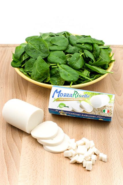 Vegan spinach ravioli Mozzarisella and spinach