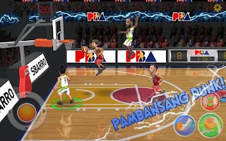 Screenshots of the PBA slam for Android tablet, phone.