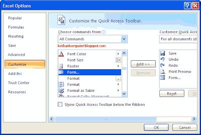 menambahkan ke quick access toolbar