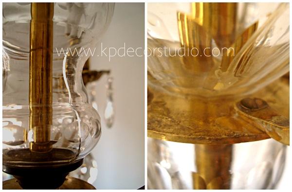 Lámpara de latón y cristal antigua