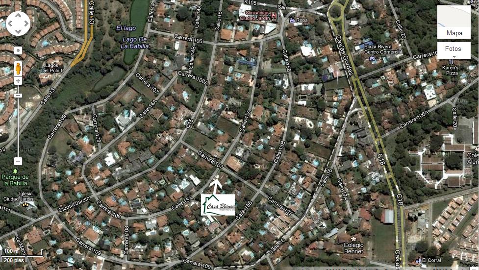 Casa blanca hospedaje y spa ubicacion for Bodytech cali jardin plaza