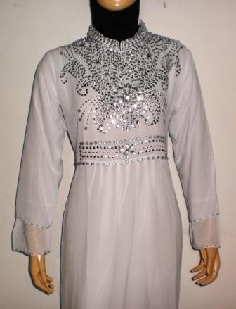Gamis Pesta Warna Putih Gp036 Grosir Baju Muslim Murah