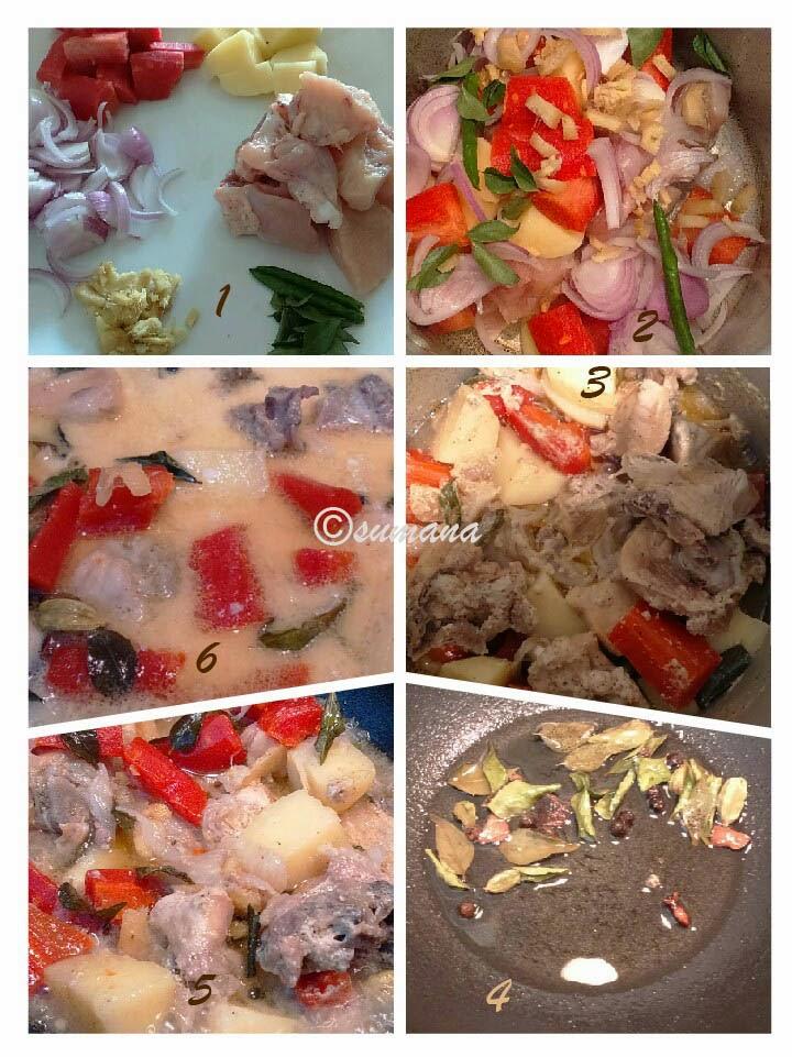 Steps of Keralian Chicken Stew