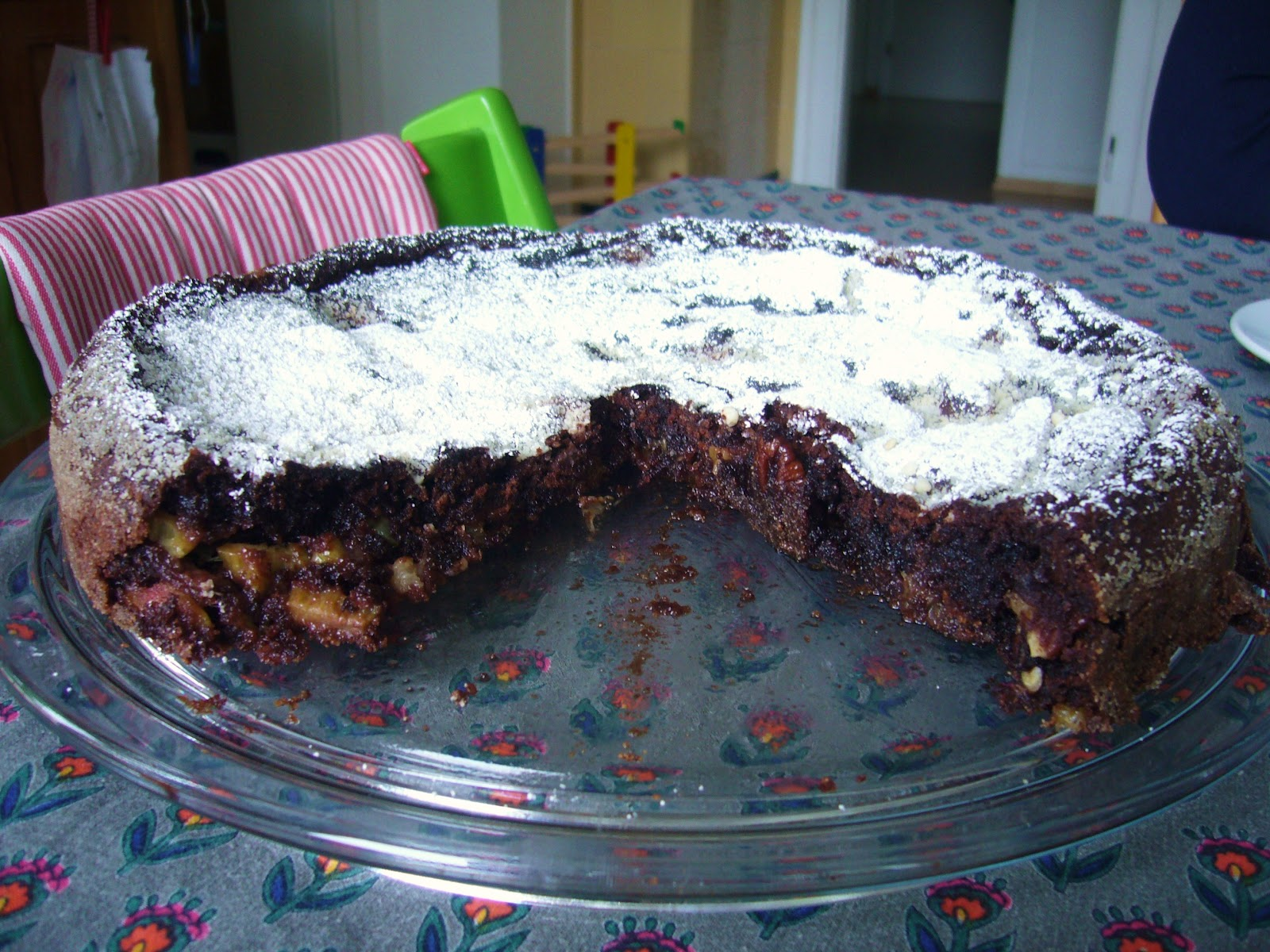 luscious chocolate rhubarb pecan cake with chili pepper. Black Bedroom Furniture Sets. Home Design Ideas