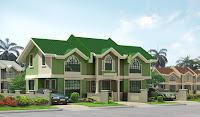 Diseño de casa en 3D verde y techo verde