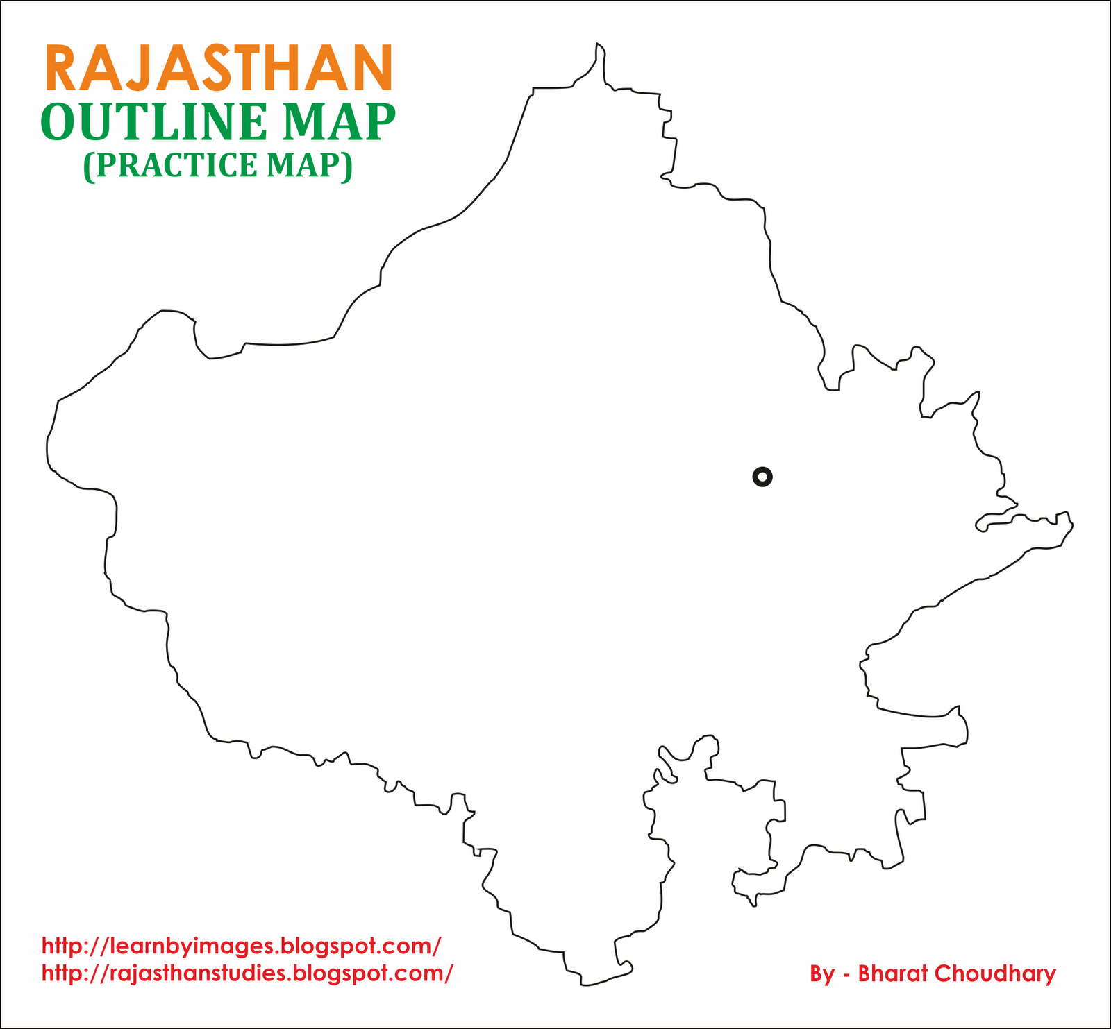 Learn by Images Rajasthan Outline Map Blank Practice Map
