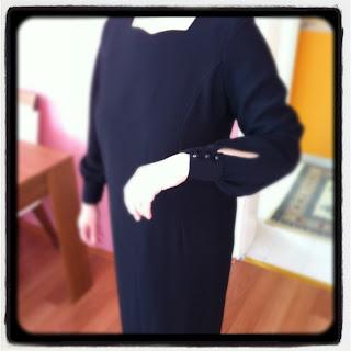 Annem için diktiğimiz elbise kulplu boydan ve yaka kısmı