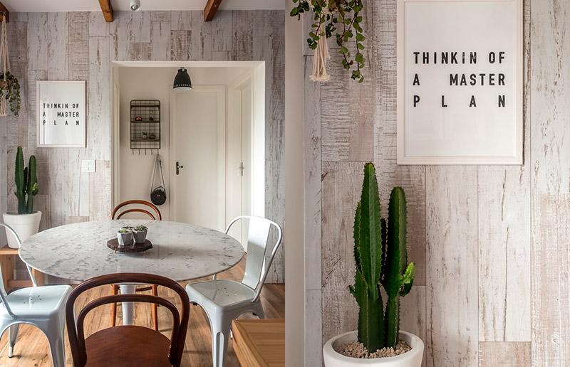 Detalhes que fazem toda a diferença: mesa de mármore e cactus!