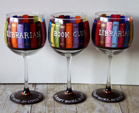 Book Lovers painted wine glasses / Kudos Kitchen by Renee