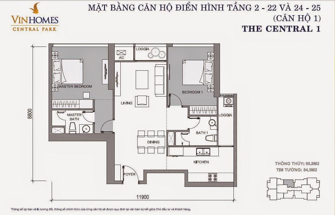 Mặt bằng căn hộ Vinhomes Central Park số 1 tầng 2 - 22 và 24 -25