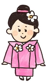 三歳の女の子のイラスト(七五三)